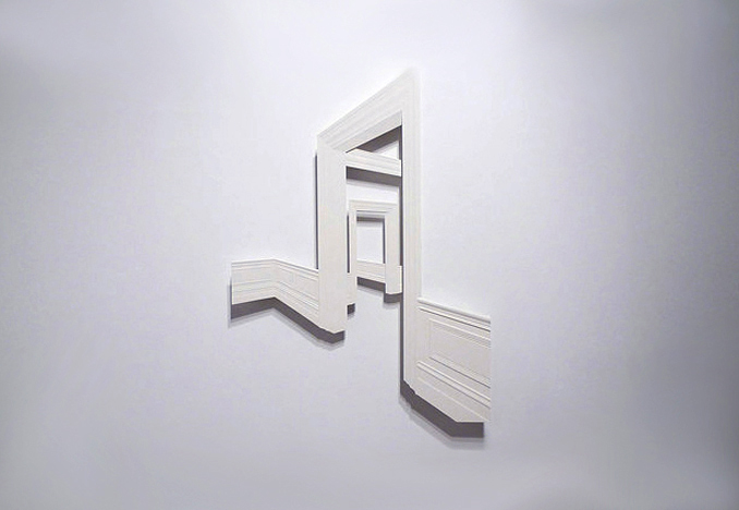 Wall Relief # 3<br>wood, painted high destiny foam, steel</br>