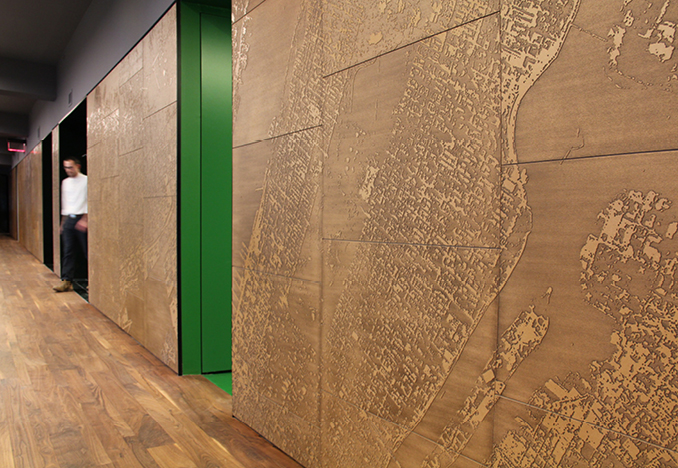 Octavian Advisors NY Office, Feature Wall, design by Adjaye Associates